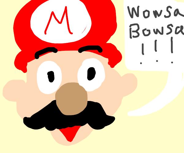 """Wowsa Bowsa!"" says Mario."
