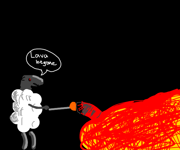 sheep uses a plunger to destroy lava