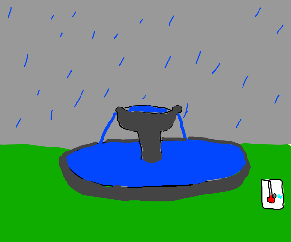 A fountain in a sleet (snow and rain) storm