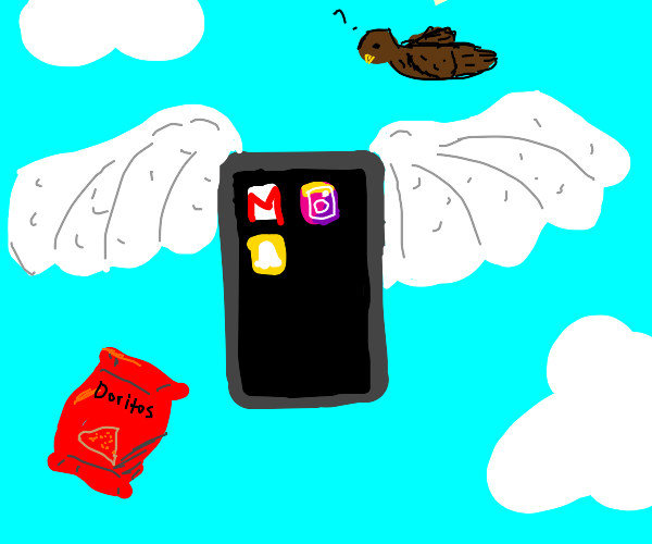 cellphone with wings with doritos in the sky