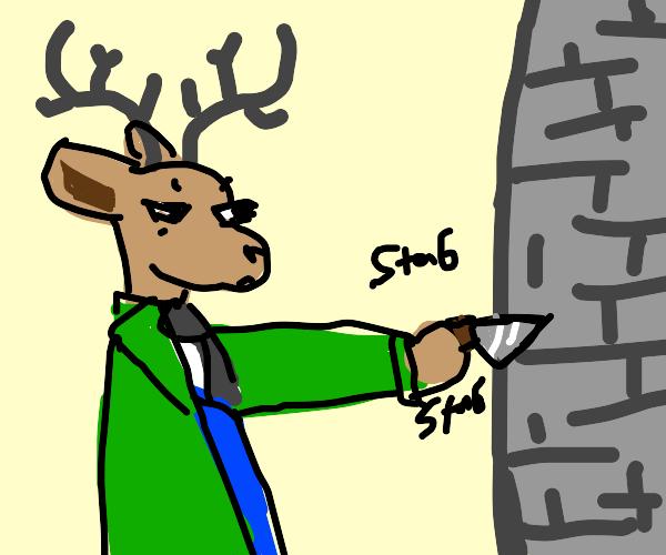 Deer stabbing a toppled over castle