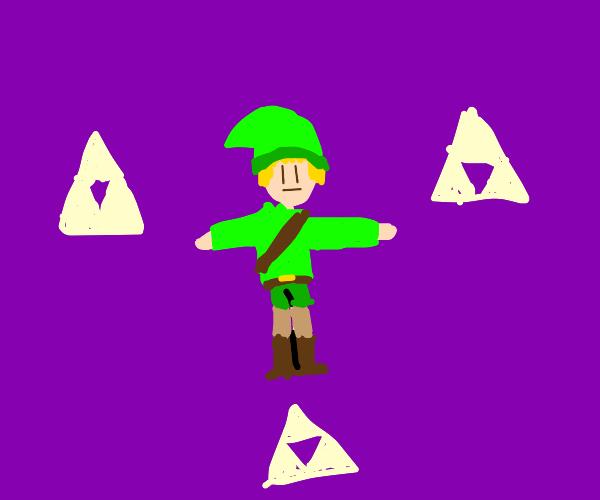 Link from Legend of Zelda is T-posing.