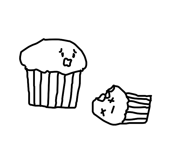 Muffin crying over his friend who got eaten
