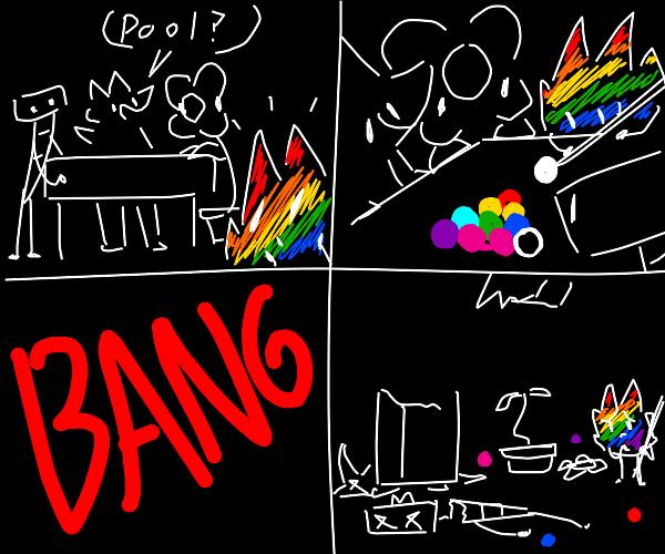 Rainbow leaf killed everyone playing pool