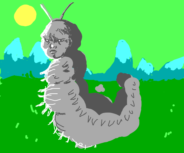 Monochromatic worm man in a green world