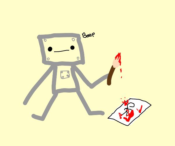 Baby robot paints