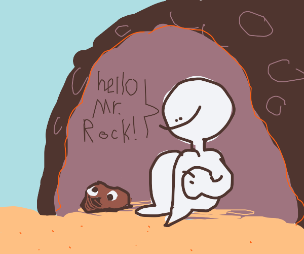 guy in a cave found a weird rock