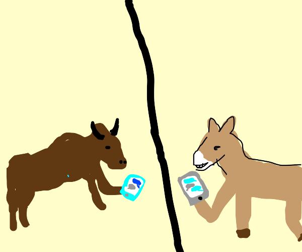 Ox texting Donkey