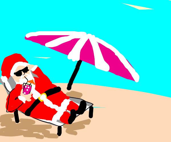Santa goes on summer vacation