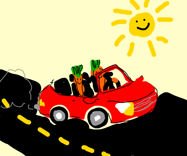 Two happy carrots in the red car