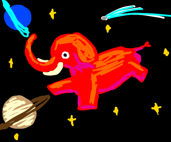 Red elephant in space