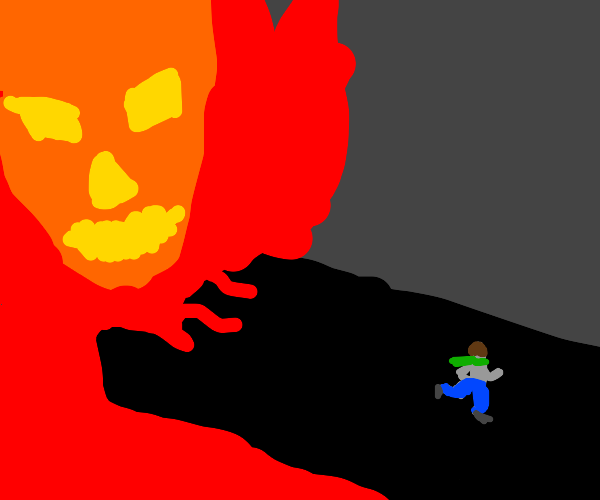 Guy with scarf running from a fire monster