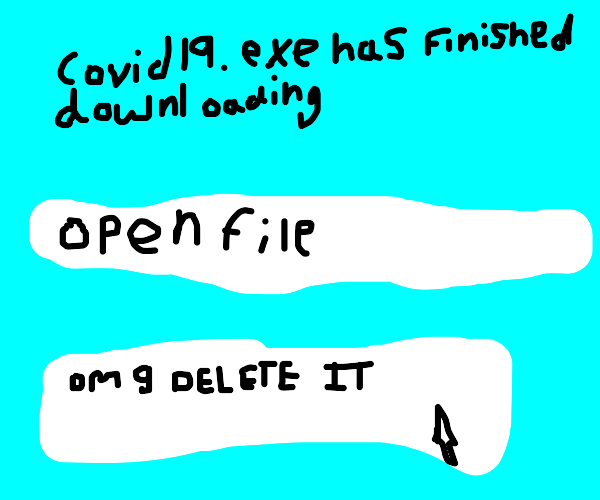 Download 'COVID19.exe' complete. Open file?