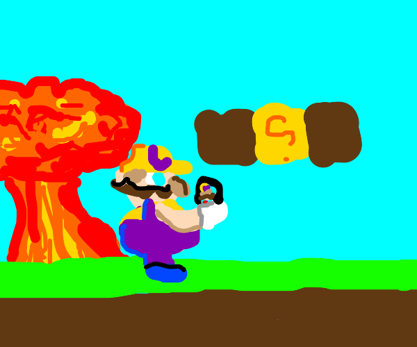 Wario takes a selfie in front of an explosion