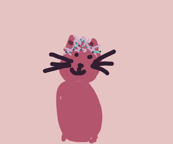 Pink alien cat wears a flower crown