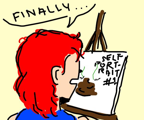 painter does Self depreciating self portrait