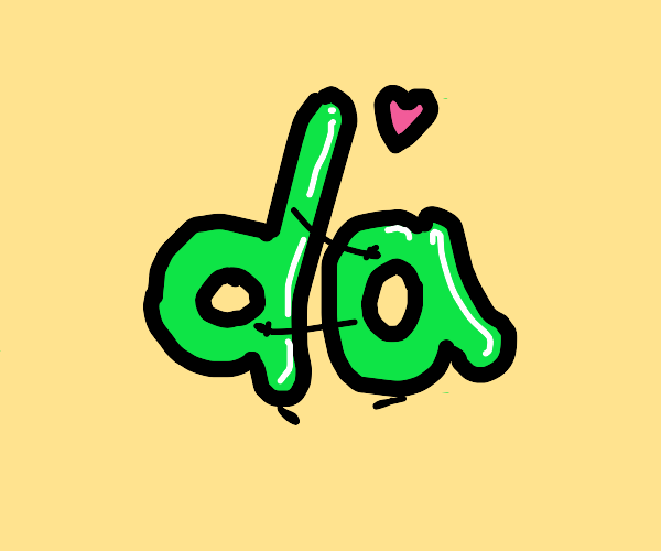 green letters d and a are in love