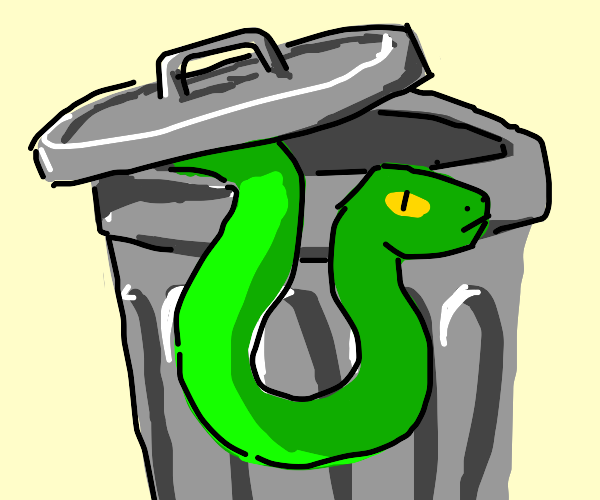 Snake in a trashcan