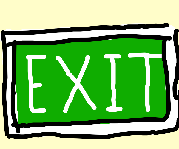 Green exit sign.