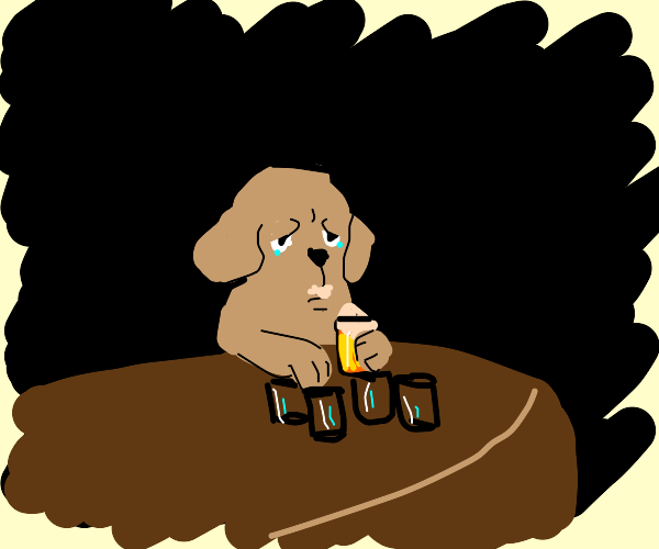 Dog drinks away his ruff problems.