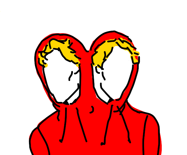 Two headed boy in a red hoodie