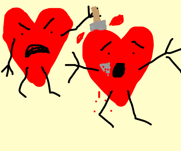 a heart stabbing another heart in the back