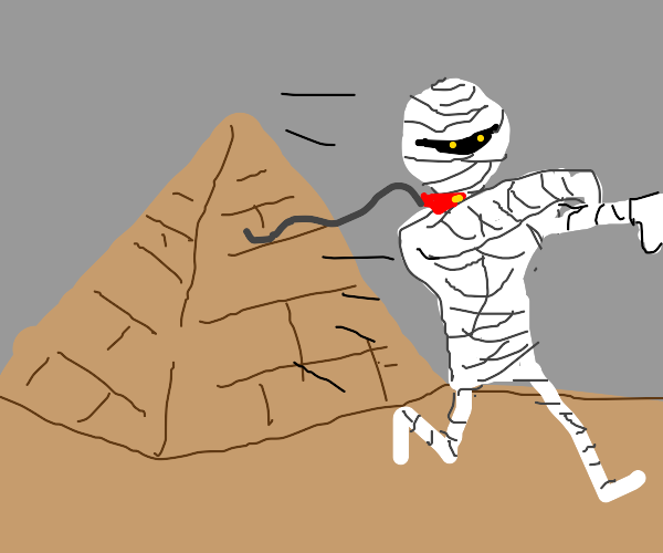Mummy comes out of a pyramid with a dogcollar