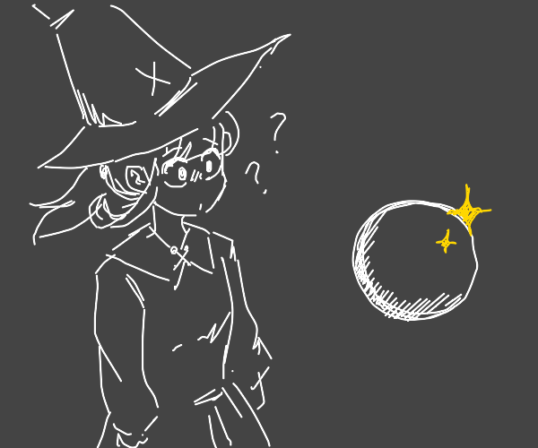 Witch discovers huge crystal ball