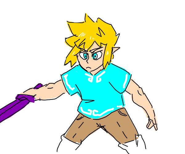BoTW Link with a purple sword