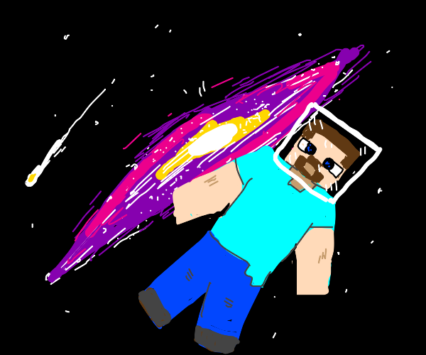 Minecraft Steve in space