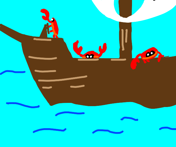 a ship with crabs on it