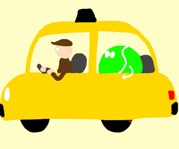 taxi driver's passenger is tennis ball