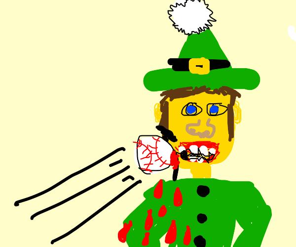 an elf gets hit by a baseball