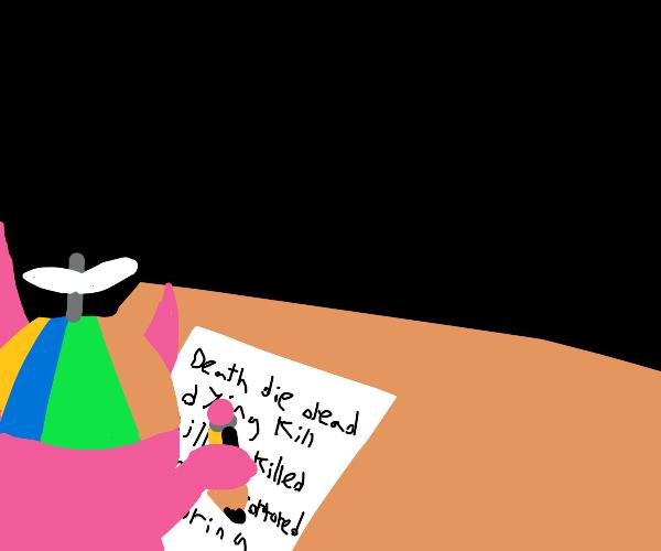 Satan Jr writing an assignment