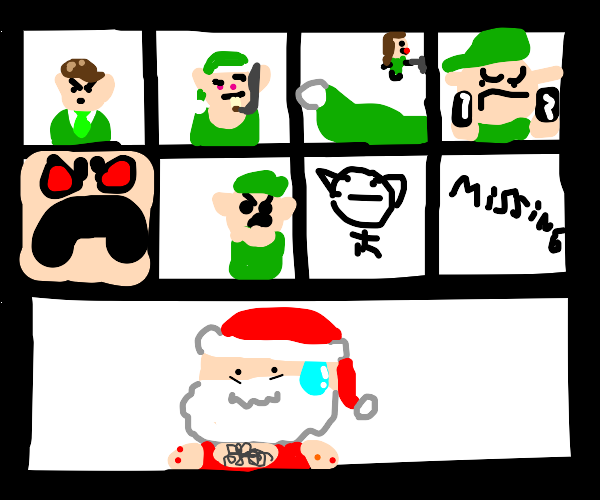 Santa in a video chat with disappointed elves