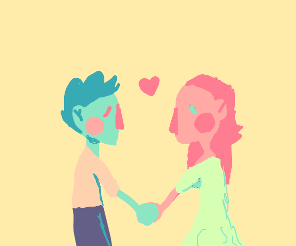 adorable blue dude + pink dudette in love :)