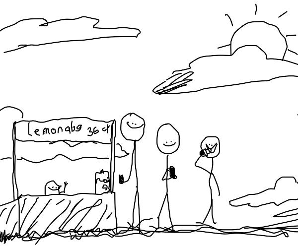 Wholesome stickman sells lemonade