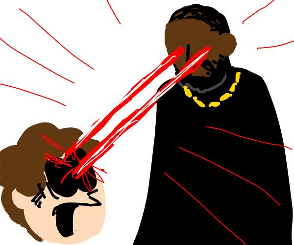 Kanye kills jon arbuckle with laser eyes