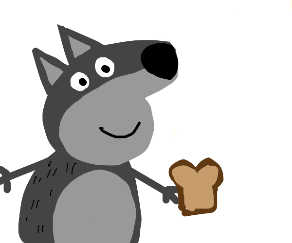 Peppa Pig-shaped wolf playing with bread