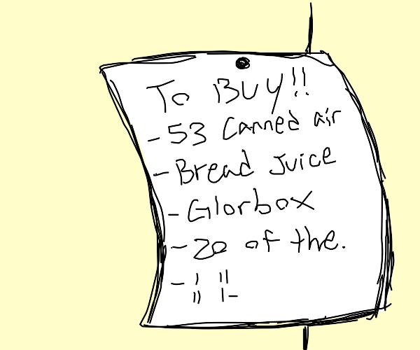 A weird grocery list