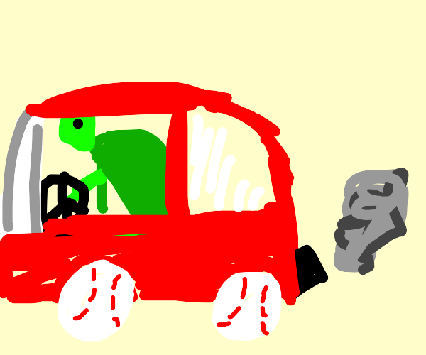 Turtle that is a car with baseball wheels