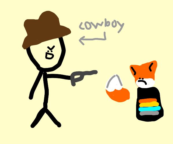 Cowboy shooting a fox