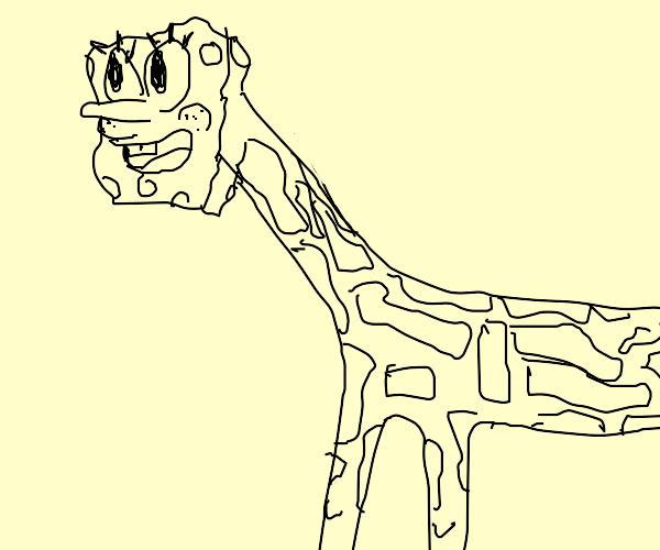 Giraffe with spongebob's head