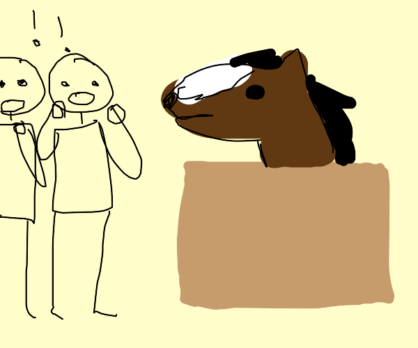 Horse in a box, two men are very impressed.