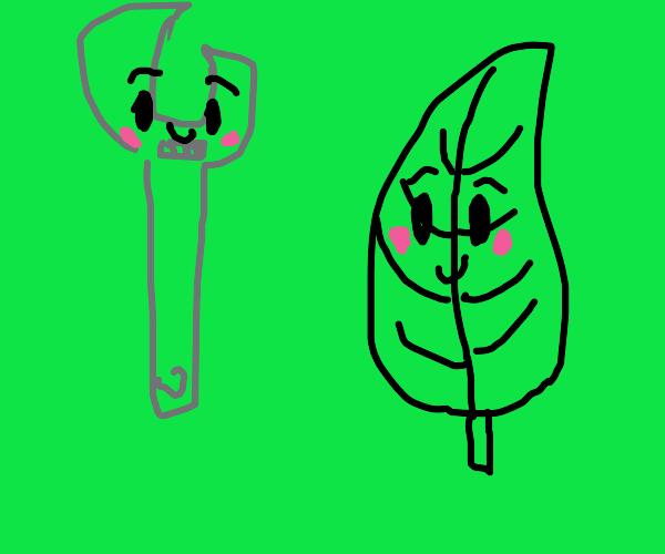 leaf falling in love with wrench