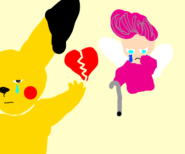 Pikachu breaking up with a geriatric Wanda