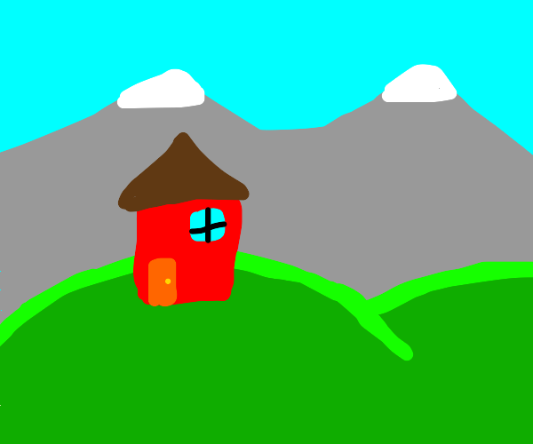 little house on a hill with mountains