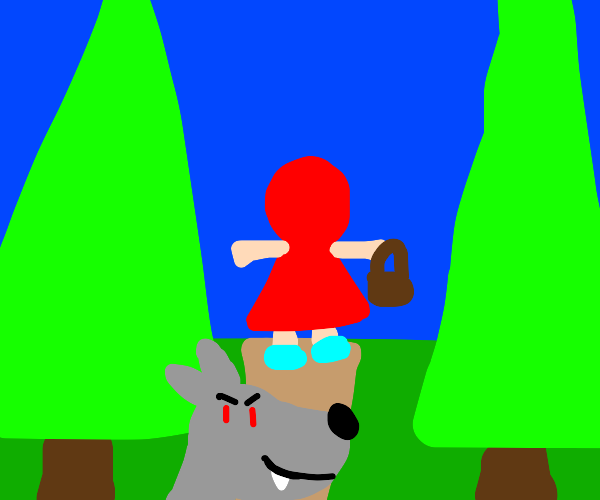 Wolf spotted Little Red Riding Hood
