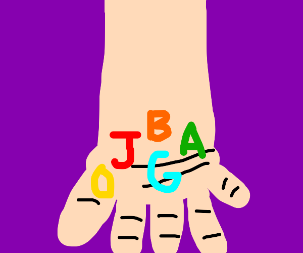 Person with letters J, B, A, G, O on hand