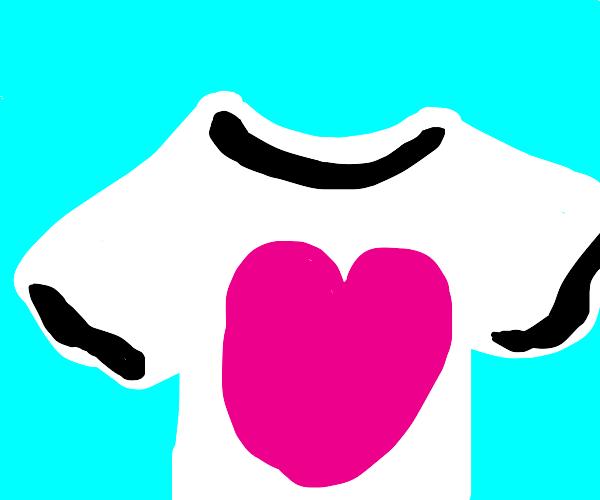 T shirt with heart shape